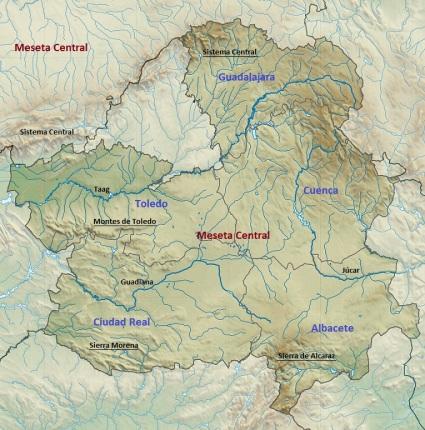 Fysische kaart - hydrografische - van Castilla-La Mancha.