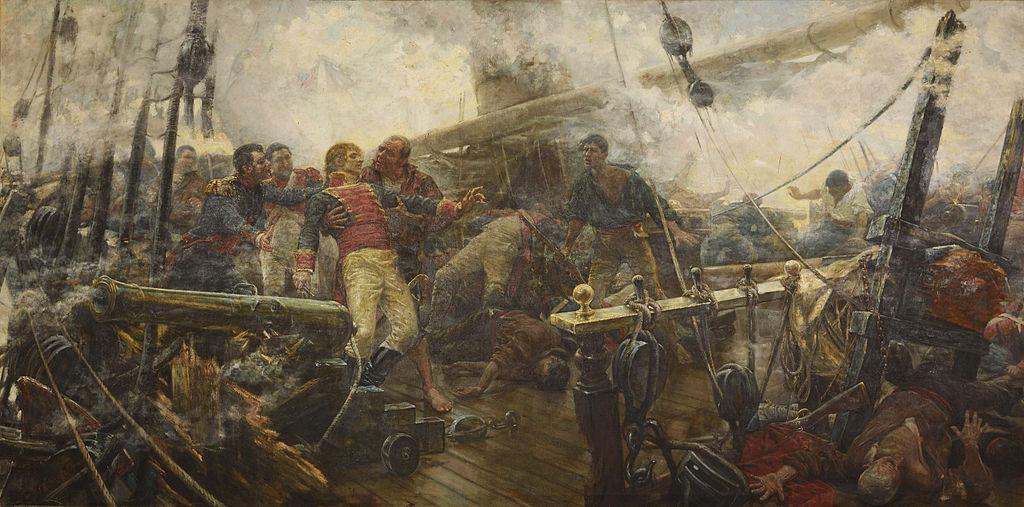 Churruca's dood bij Trafalgar, Olieschilderij van Eugenio Álvarez Dumont, eigendom van het Prado Museum (gedeponeerd bij het Instituut Cabrera Pinto de La Laguna, Tenerife).