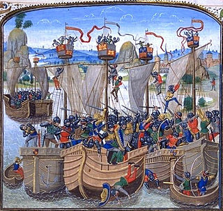 Zeeslag van La Rochelle (Frans miniatuur 15de eeuw). De vloot van de Spaanse marine, gevormd door de Cantabrische schepen, behaalde een klinkende overwinning tegen de Engelse marine, het passeren van de controles in het Engelse Kanaal in handen van de Corona de Castilia.