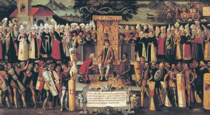 Na te hebben gezworen op de wetten van de Heerlijkheid van Viscaya, ontvangt koning Fernando 'de Katholieke' een eerbetoon van de 'Juntas General' van Viscaya, die zich verzamelde in Guernica (Auteur: Francisco de Mendieta en Retes) op 30 juli 1476.