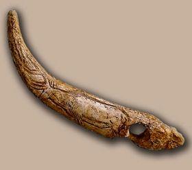 Geperforeerde wandelstok versierd met gravure van een hert, gevonden in de grot van El Castillo.