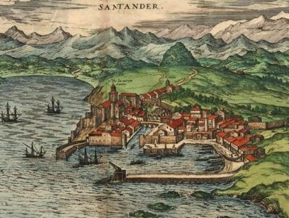 Santander gezien door Joris Hoefnagel, uit de laat 16de eeuw . Het is de oudste gravure van de stad.