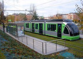 De tram van Euskotran in Vitoria