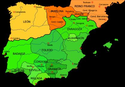 Het schiereiland in 1030. De eerste schriftelijke vermeldingen zijn opgesteld in het Romeins en Baskisch, ze staan in de Glosas Emilianenses. De kaart laat zien hoe het Koninkrijk van Pamplona verdween tussen 1029 en 1035, en waar navarroaragonés en het Castiliaans ontstond. Het Baskisch als oorspronkelijke taal dat later door de Romaanse talen wordt vervangen.