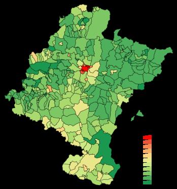 Bevolkingsdichtheid van Navarra in 2006.