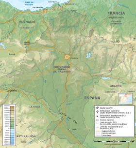 Topografische kaart van Navarra.