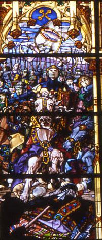 """Sancho VII """"el Fuerte"""" van Navarra tijdens de Slag om Lasnavas de Tolosa (raam van de kapel van San Augustín in Roncesvalles, dat werd gemaakt ter gelegenheid van de 700ᵉ verjaardag van deze slag."""