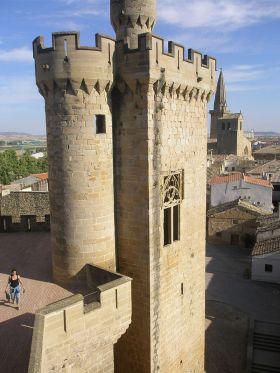 Wachttoren van het Koninklijke Paleis van Olite. Deze werd in brand gezet door Espoz y Mina, om, in theorie, te voorkomen dat de Fransen, vluchten uit Navarra, maakte men hen sterker.