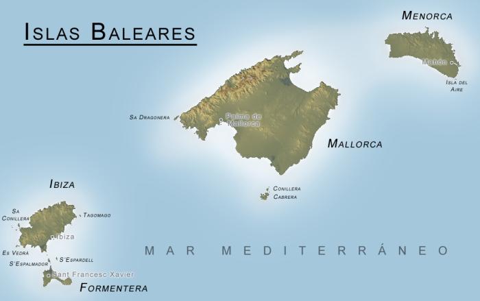 Kaart van Islas Baleares.