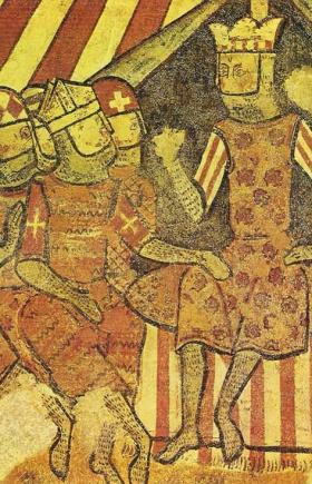 Koning Jaume I de Aragón met de bisschop van Barcelona, Berenguer de Palou en de magnaten Bernat de Centelles en Gilabert de Cruïlles gedurende de verovering van Mallorca (1229). (Fresco in het Palacio Aguilar te Barcelona MNAC)