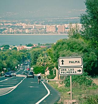 Uitzicht op Playa de Palma vanuit de aangrenzende stad Llucmajor.