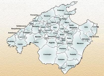 Kaart van de municipios van Mallorca.