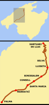 Mars van Güell naar Lluc te voet (Güell a Lluc a pie).