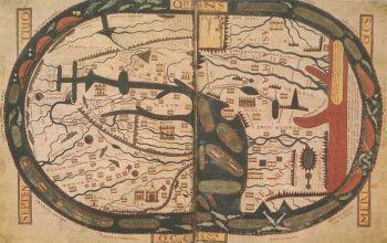 Wereldkaart van Beatus de Liébana, in tegenstelling tot wat de moderne cartografie doet, wordt de kaart niet op het noorden maar op het oosten georiënteerd. Oriënteren komt van oriente (oosten) vandaar de term geörienteerd (op het oosten gericht).