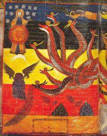 """""""Er verscheen een groot teken aan de hemel, een Vrouw, bekleed met de zon, met maan onder haar voeten en een krans van twaalf sterren om haar hoofd. Ze is zwanger en ze schreeuwt met de pijn van de weeën den de bevalling. er verschijnt nog een ander wezen in de hemel, een grote Rode Draak, met zeven koppen en tien horens en zeven kronen op hun hoofd"""". (Openbaring, 12.1)"""