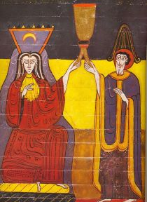 """""""De vrouw was gekleed in purper en scharlaken en schitterende edelstenen, parels en goud, in haar handen een beker van goud, vol gruwelen en de onreinheden van haar prostitutie, en op haar voorhoofd staat mysterieuze naam geschreven: 'la Gran Babilonia', de moeder van de hoeren en de gruwelen van de aarde"""". (Openbaring, 17.4-5)."""