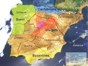 Kaart van het Iberisch schiereiland in de 6e eeuw inclusief de oude romaanse provincies en haar bewoners in dit tijdperk.