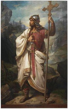 Don Pelayo, de eerste gekozen koning van Asturias.