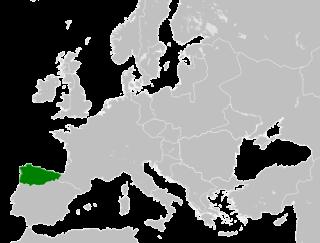 Een kaart van Europa met daarop, groen ingekleurd, het Koninkrijk Asturias.