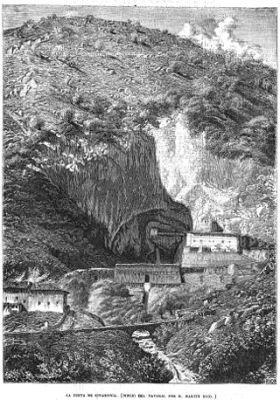 Illustrtie van de grot van Covadonga, van Martín Rico, ge publiceerd in 1857 (el Museo Universal).