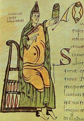 Miniatuur uit de Cronica Albeldense van 976, Voorstellende San Martin van Braga. Bibliotheek van het klooster van San Lorenzo van El Escorial, Madrid.