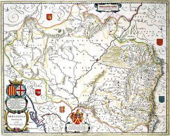 Aragonia Regnum, kaart van Blaeu op basis van Juan Butista Labaña, gepubliceerd in 1640.