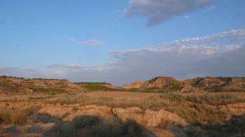 Een gebied in Monegros, met een droog klimaat en extreme temperaturen.