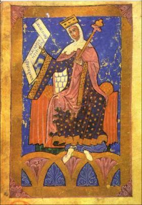 Middeleeuws miniatuur van koningin Urraca I de León.