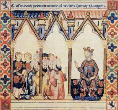 Spaanse Verhalen, prent van Jaime I de Aragón, Lofliederen voor Santa Maria