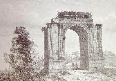 Tekening, triomfboog (Arco de Bará)