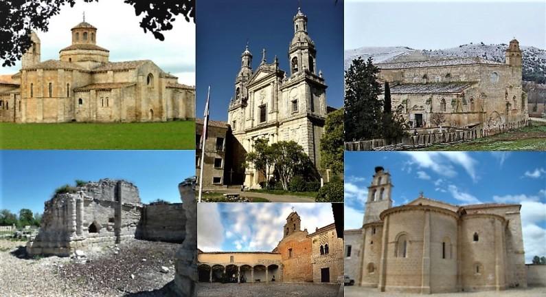 Foto met een collage van kloosters van Valladolid.