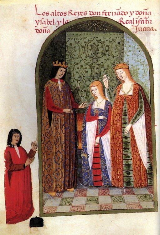 Prent van de Katholieke Koningen met hun dochter Juana.